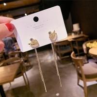 Ladies Swan Crystal Tassel Earrings - Golden