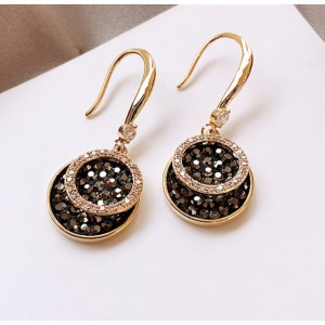 Round Black Diamond Earrings - Black