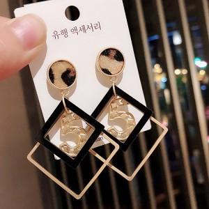 Fashion Geometric Leopard Earrings - Multi Color