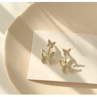 Girls Butterfly Wild Earrings - Golden
