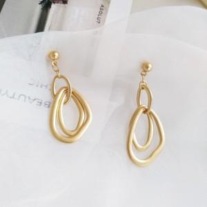 Woman Matte All Match Earrings - Golden
