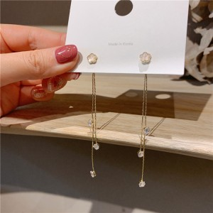 Girls Rhinestone Tassel Earrings - Golden