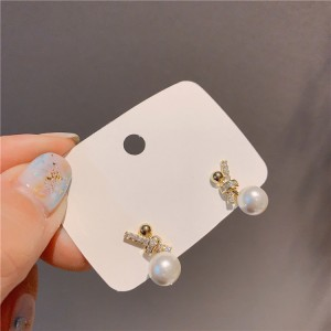 Girls Simple Pearl Earrings - Golden