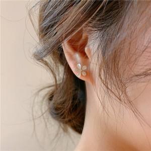 Girl Crystal Flower Fashion Earrings - Golden