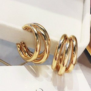 Multi Layer Ring Simple Personality Earrings - Golden