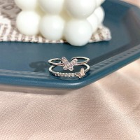 Gilrs Butterfly Double Layer Fashion Rings - Silver