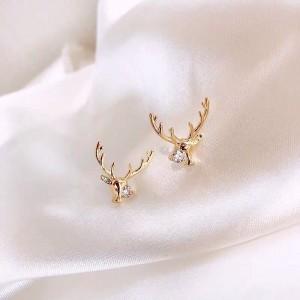Girl Fashion Simple Elk Earrings - Golden