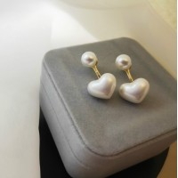 Girl Fashion Heart Pearl Earrings - Golden