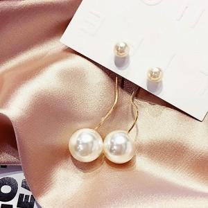 Ladies Elegant Pearl Long Earrings - Golden