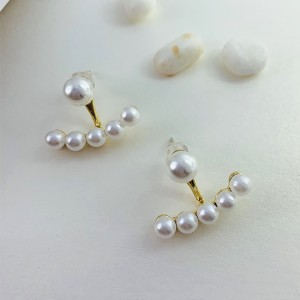 Girls Fashion Elegant Pearl Earrings - Golden