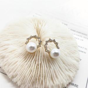 Girls Fashion Rhinestone Pearl Earrings - Golden