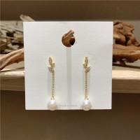 Girls Fashion Pearl Long Earrings - Golden