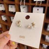 Girls Fashion Geometry Pearl Earrings - Golden
