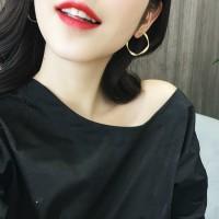 Woman Elegant Simple Round Earrings - Golden