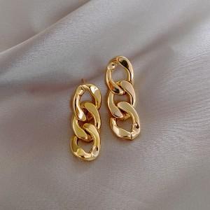 Metal Chain Earrings Girls Earrings - Golden