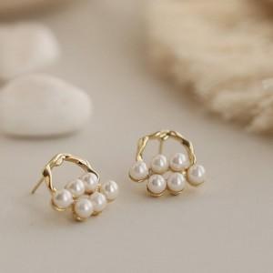 Elegant Pearl Girls Earrings - Golden