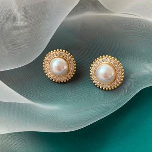 Elegant Pearl Ladies Earrings - Golden