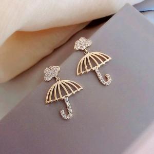Ladies Rhinestone Umbrella Earrings - Golden