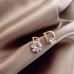 Ladies Letters Rhinestone Earrings - Golden