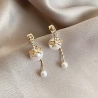 Ladies Fashion Pearl Elegant Earrings - Golden