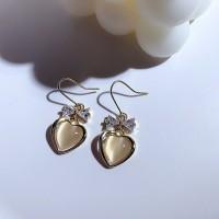 Ladies Heart Crystal Earrings - Golden