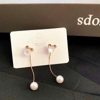 Ladies Crystal Tassel Earrings - Golden