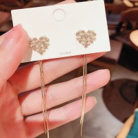 Ladies Heart Rhinestone Tassel Earrings - Golden