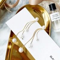 Ladies Pearl Tassel Elegant Earrings - Golden