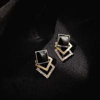Ladies Square Elegant Earrings - Black