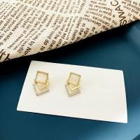 Ladies Square Elegant Earrings - Golden