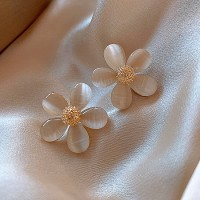 Ladies Opal Flower Earrings - White