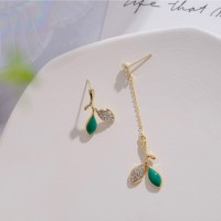 Ladies Tassel Asymmetry Earrings - Green