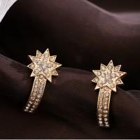 Ladies Rhinestone Star Earrings - Golden