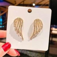 Ladies Rhinestone Wing Earrings - Golden