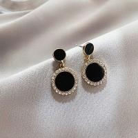 Ladies Rhinestone Round Earrings - Black