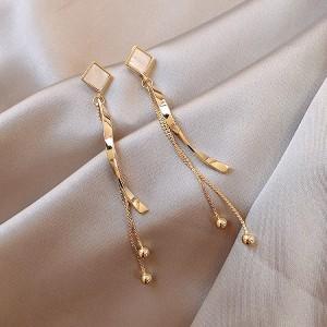 Ladies Diamond Tassel Earrings - Golden