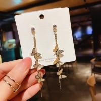 Ladies Squin Butterfly Tassel Earrings - Golden