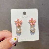 Girls Flower Pearl Fashion Earrings - Pink
