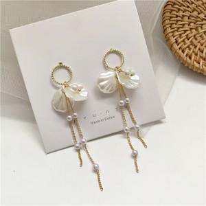 Girls Shell Fashion Tassel Earrings - White