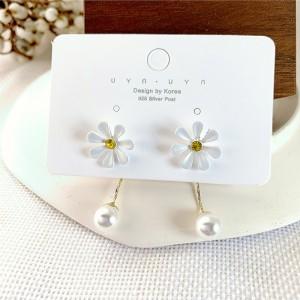 Girls Flower Pear Tassel Earrings - White