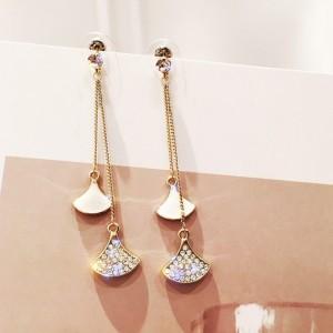 Woman Sector Rhinestone Earrings - White