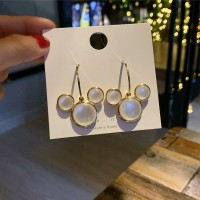 Woman Opal Cute Earrings - Golden