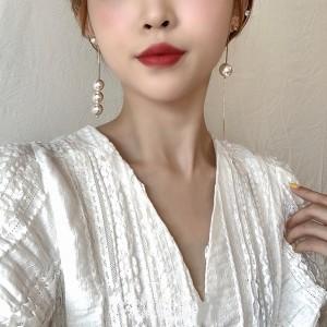Ladies Pearl Tassel Elegant Earrings - White