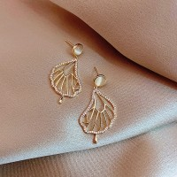 Ladies Rhinestone Leaf Elegant Earrings - Golden