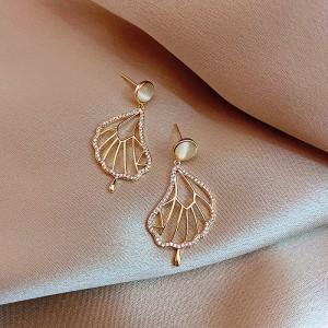 Ladies Rhinestone Leaf Elegant Earrings - Golden
