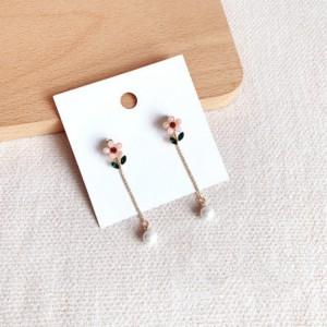 Elegant Flower Pearl Tassel Girls Earrings - Pink