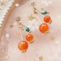 Woman Fashion Long Earrings - Orange