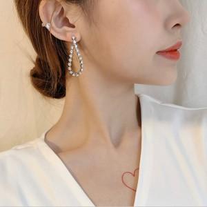 Woman Rhinestone Chain Long Earrings - Silver