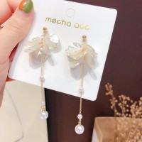 Girls Sweet Shell Tassel Earrings - White