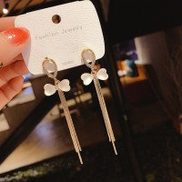 Girls Sweet Crystal Tassel Earrings - Golden